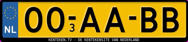 Voorbeeld kenteken met duplicaatcode 13