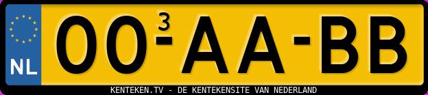 Voorbeeld kenteken met duplicaatcode 3