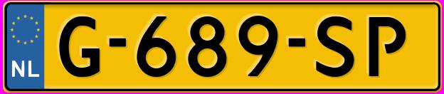 Laatste kenteken: G-689-SP