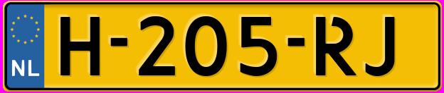 Laatste kenteken: H-205-RJ