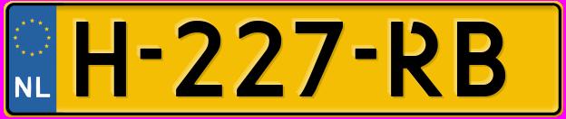 Laatste kenteken: H-227-RB