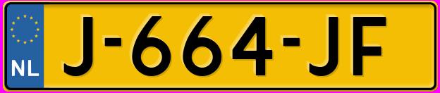 Laatste kenteken: J-664-JF