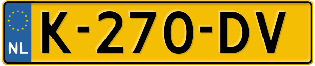 Laatste kenteken: K-270-DV