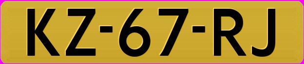 Gele kentekenplaat 1978-2000