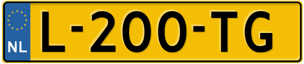 Laatste kenteken: L-200-TG