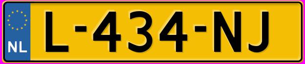 Laatste kenteken: L-434-NJ