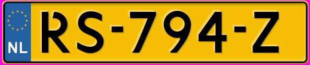 Laatste kenteken: RS-794-Z