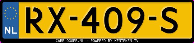 Laatste kenteken: RX-409-S