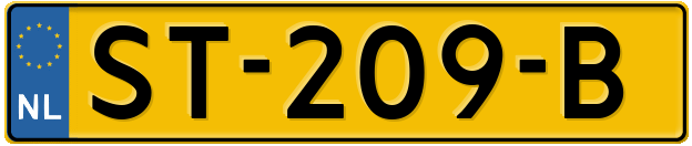 Laatste kenteken: ST-209-B