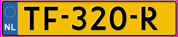 Laatste kenteken: TF-320-R