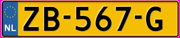 Laatste kenteken: ZB-567-G
