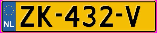 Laatste kenteken: ZK-432-V